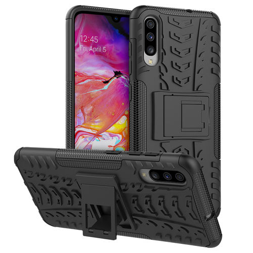 Dual Layer Rugged Tough Case & Stand for Samsung Galaxy A70 - Black